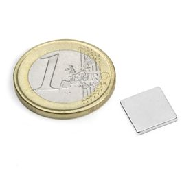 Q-10-10-1.2-N52N Parallélépipède magnétique 10 x 10 x 1,2 mm, néodyme, N52, nickelé