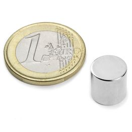 S-10-10-N Disc magnet Ø 10 mm, height 10 mm, holds approx. 3,9 kg, neodymium, N45, nickel-plated