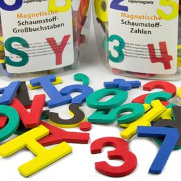 Letters or numbers magnetic set of magnetic symbols, made of EVA foam, 4 assorted colours