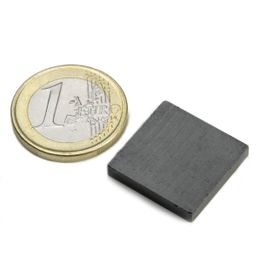 FE-Q-20-20-03 Parallelepipedo magnetico 20 x 20 x 3 mm, tiene ca. 450 g, ferrite, Y35, senza rivestimento