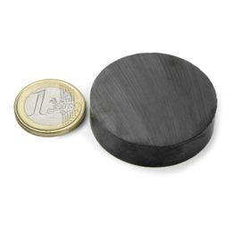 FE-S-40-10 Disco magnetico Ø 40 mm, altezza 10 mm, tiene ca. 2,4 kg, ferrite, Y35, senza rivestimento