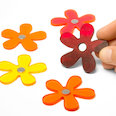 Flower magnets in summer colours, Set of 5 each