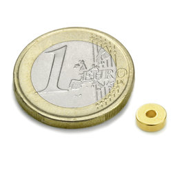 R-06-02-02-G, Ring magnet Ø 6/2 mm, height 2 mm, neodymium, N45, gold-plated