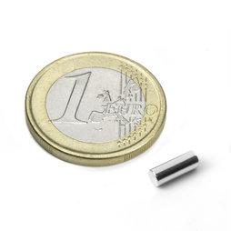S-03-08-N, Rod magnet Ø 3 mm, height 8 mm, neodymium, N48, nickel-plated