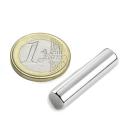 S-08-30-N, Rod magnet Ø 8 mm, height 30 mm, neodymium, N42, nickel-plated