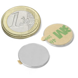 S-18-01-STIC, Disc magnet (self-adhesive) Ø 18 mm, height 1 mm, neodymium, N35, nickel-plated