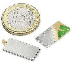 Q-20-10-01-STIC, Block magnet (self-adhesive) 20 x 10 x 1 mm, neodymium, N35, nickel-plated
