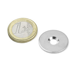 MD-23, Metal disc with countersunk borehole, Ø 23 mm, as a counterpart to magnets, not a magnet!