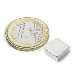 Q-10-10-04-N, Block magnet 10 x 10 x 4 mm, neodymium, N40, nickel-plated