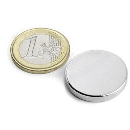 S-25-03-N, Disc magnet Ø 25 mm, height 3 mm, neodymium, N45, nickel-plated