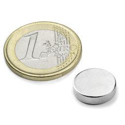 S-12-03-N, Disc magnet Ø 12 mm, height 3 mm, neodymium, N45, nickel-plated