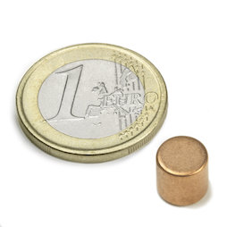 S-08-08-K, Disc magnet Ø 8 mm, height 8 mm, neodymium, N45, copper-plated
