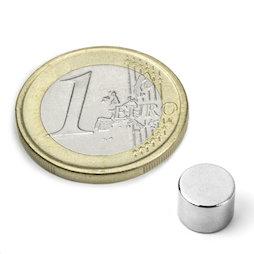 S-08-06-N52N, Disc magnet Ø 8 mm, height 6 mm, neodymium, N52, nickel-plated