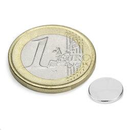 S-08-01-N, Disc magnet Ø 8 mm, height 1 mm, neodymium, N45, nickel-plated