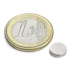 S-08-02-N, Disc magnet Ø 8 mm, height 2 mm, neodymium, N45, nickel-plated