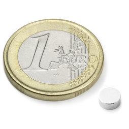 S-05-02-N52N, Disc magnet Ø 5 mm, height 2 mm, neodymium, N52, nickel-plated