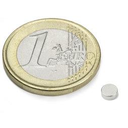 S-04-1.5-N, Disc magnet Ø 4 mm, height 1,5 mm, neodymium, N45, nickel-plated