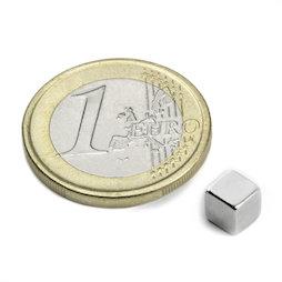 W-05-N, Cube magnet 5 mm, neodymium, N42, nickel-plated