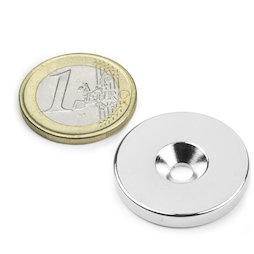 CS-S-27-04-N, Disc magnet Ø 27 mm, height 4 mm, with countersunk borehole, N35, nickel-plated