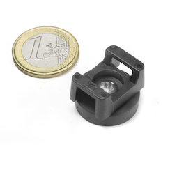 CMN-22, rubberised pot magnet, for cable mounting, Ø 22 mm