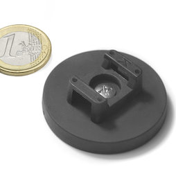 CMN-43, rubber coated pot magnet, for cable mounting, Ø 43 mm