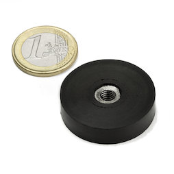 ITNG-32, rubberised pot magnet, with internal thread M6, Ø 36 mm