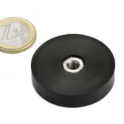 ITNG-40, rubberised pot magnet, with internal thread M6, Ø 45 mm