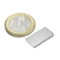 Q-20-10-02-N, Parallélépipède magnétique 20 x 10 x 2 mm, néodyme, N45, nickelé