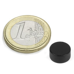 S-10-05-E/black, Disc magnet Ø 10 mm, height 5 mm, neodymium, N42, epoxy coating