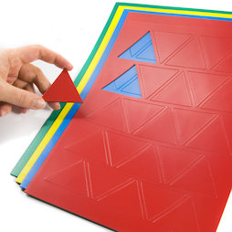 BA-014TR, Triángulos magnéticos grandes, para pizarras blancas y de planificación, 25 símbolos por hoja A4, en diferentes colores