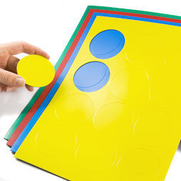 BA-014CI, Magnet symbols Circle large, for whiteboards & planning boards, 12 symbols per A4 sheet, in different colours