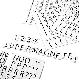 BA-015LN, Letters & numbers magnetic, for labelling metal shelves, 120 characters per A4 sheet, 2-piece set, white