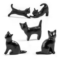 LIV-138, Black cats, Fridge magnets in cat shape, set of 5