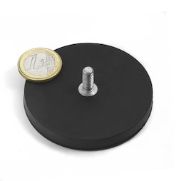GTNG-66, rubberised pot magnet with threaded peg, Ø 66 mm, thread M8
