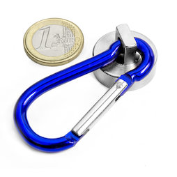 KTN-25B, Pot magnet with blue carabiner Ø 25 mm, length of carabiner 60 mm