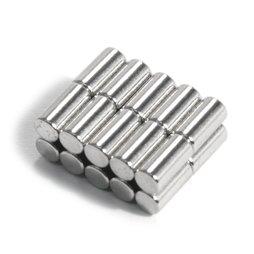 S-03-06-N, Cilindro magnético Ø 3 mm, alto 6 mm, neodimio, N48, niquelado
