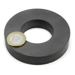 FE-R-80-40-15, Ring magnet Ø 80/40 mm, height 15 mm, ferrite, Y35, no coating