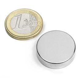 S-25-07-N, Disc magnet Ø 25 mm, height 7 mm, neodymium, N42, nickel-plated