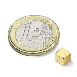 W-05-N50-G, Cube magnet 5 mm, neodymium, N50, gold-plated